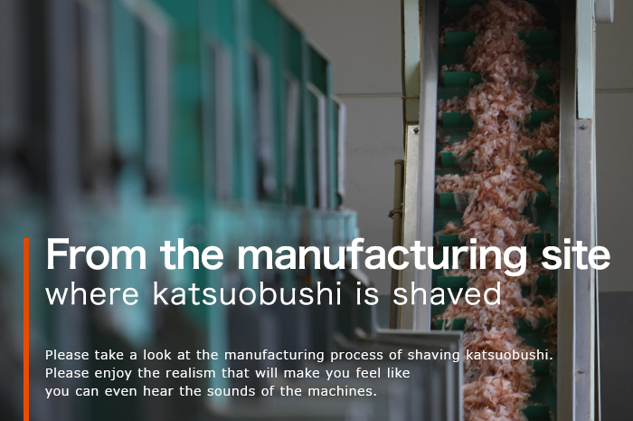 From the manufacturing site where katsuobushi is shaved.Please take a look at the manufacturing process of shaving katsuobushi. Please enjoy the realism that will make you feel like you can even hear the sounds of the machines.