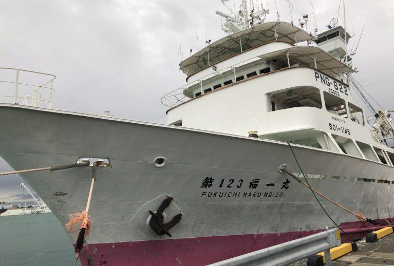 焼津港で水揚げをする海外まき網船