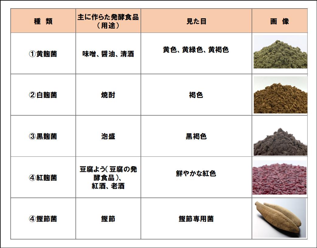 麹菌の種類一覧表